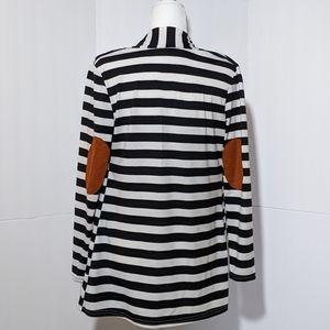 Striped Elbow Patch Cardigan